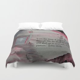 The Door----Religious Abstract Art --- John 10:9 --- by Saribelle Rodriguez Duvet Cover