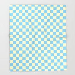 Cream Yellow and Baby Blue Checkerboard Throw Blanket