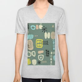 Mid Century Mod Digital Bark cloth Unisex V-Neck