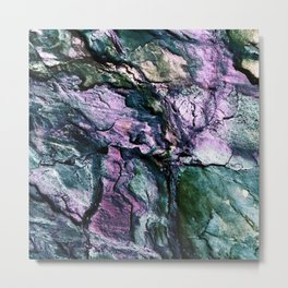 Textured Minerals Teal Green Purple Metal Print