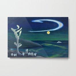 Island Moon before the World coastal island landscape painting by Marguerite Blasingame Metal Print