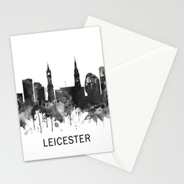 Leicester England Skyline BW Stationery Cards