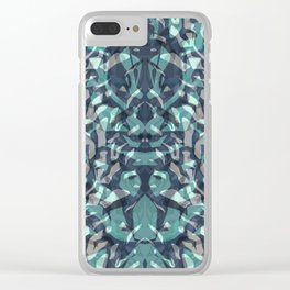 Abstract blue black pattern. Clear iPhone Case