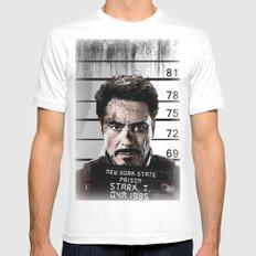 Tony Stark jailed MEDIUM Mens Fitted Tee White