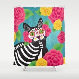 Gatos Dia de los Muertos Shower Curtain