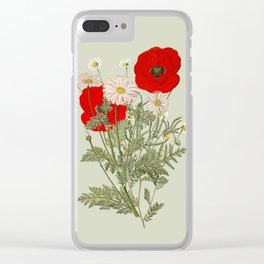 A country garden flower bouquet -poppies and daisies Clear iPhone Case