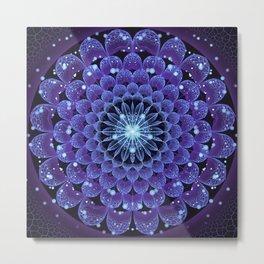 Accordant Electric Blue Fractal Flower Mandala Metal Print