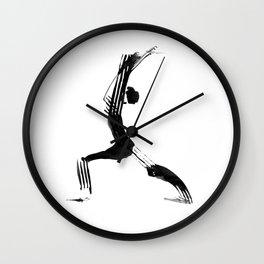 Moder black and white, minimalist ink figure yoga drawing, yoga illustration, yoga pose, yoga art Wall Clock