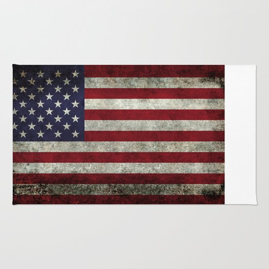 American Flag, Old Glory In Dark Worn Grunge Rug By Bruce