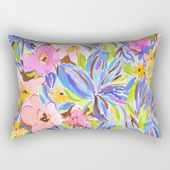 Flaunting Floral Periwinkle Rectangular Pillow