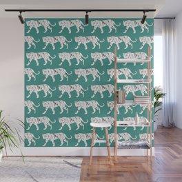 Tiger Print Teal Wall Mural