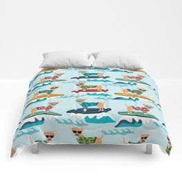 chihuahua pattern surfing cute pet gifts dog lovers chihuahuas Comforters