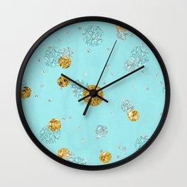 Treasures on aqua - Gold glitter polkadots on turquoise background Wall Clock