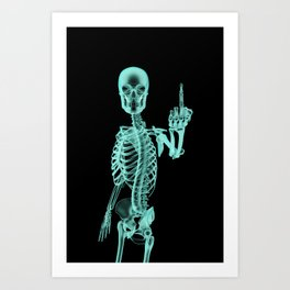 X-ray Bird / X-rayed skeleton demonstrating international hand gesture Art Print