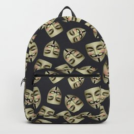 Guy Fawkes Masks on Gunpowder Backpack