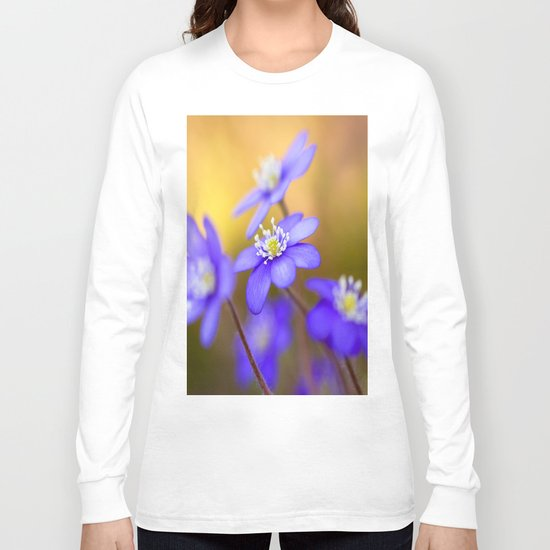 Spring Wildflowers, Beautiful Hepatica in the forest on a sunny and colorful background Long Sleeve T-shirt