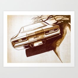 1970 Muscle Car Back End Sketch Art Print