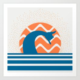 Hang Loose Wave // Sun Surfer Shaka Beach Retro Graphic Design Horizontal Daze Waves Art Print