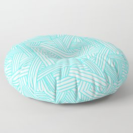 Sketchy Abstract (Turquoise & White Pattern) Floor Pillow