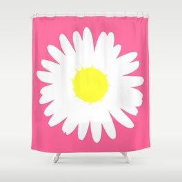 Pink Daisy (Yellow) Shower Curtain