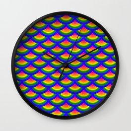 Rainbow Fish Scales Mermaid Pattern Wall Clock
