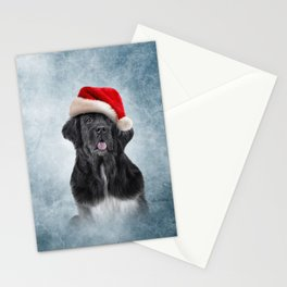 Drawing, illustration Dog Newfoundland in red hat of Santa Claus Stationery Cards