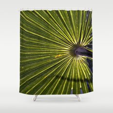 Green Palm Poetry Shower Curtain