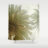 palm trees Shower Curtains featuring Palm Trees by The ShutterbugEye