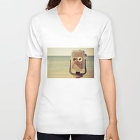 robot V-neck T-shirts featuring Robot Head by Olivia Joy StClaire