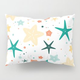 Seastars Pattern - Teal Pillow Sham