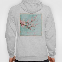 Its All Over Again - Romantic Spring Cherry Blossom Butterfly Illustration on Teal Watercolor Hoody