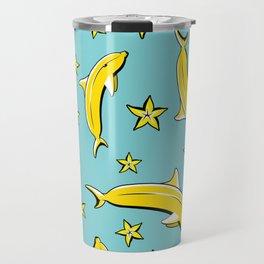 Vitamin tasty bananas dolphin pattern. Tropical food vegetarian organic background.Yummy summer cove Travel Mug