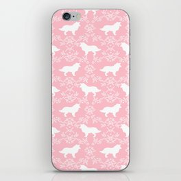 Border Collie silhouette minimal floral florals dog breed pet pattern pink and white iPhone Skin
