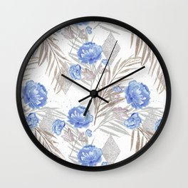Blue flowers on a white background. Wall Clock