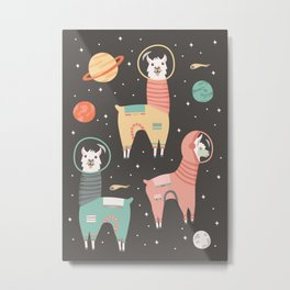 Astronaut Llamas in Space Metal Print