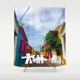 C for Cartagena Fun Cut Out Cartagena Street Print Shower Curtain
