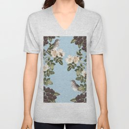 Birds and the Bees Blue Unisex V-Neck