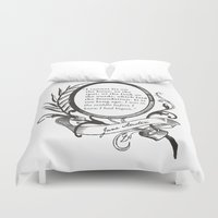 "jane austen Duvet Covers featuring Jane Austen ""In the Middle"" by ArtSoElectric"