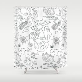 Halloween pattern in black and white Shower Curtain