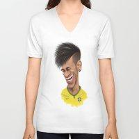 neymar V-neck T-shirts featuring Neymar - Brazil by Sant Toscanni