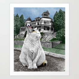 Mackinac Island Cat Art Print