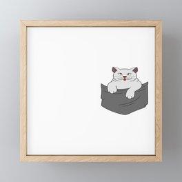 Pocket Persian Cute Feline Feral Meow Pet Animals Kitten Kittie Feline Claw Claws T-shirt Design Framed Mini Art Print