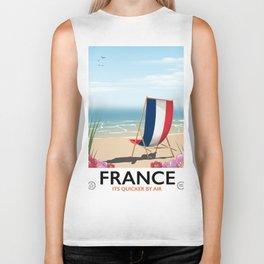 France seaside poster Biker Tank