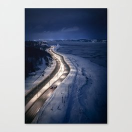 Boulevard in the night (Quebec, Saint Lawrence River) Canvas Print