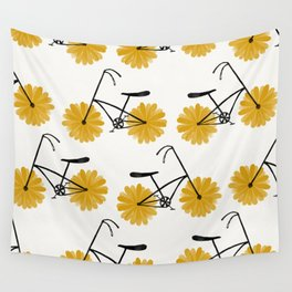 Flower Powered Bike Yellow Daisy Wall Tapestry