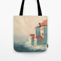 castle in the sky Tote Bags featuring Castle in the Sky by Schwebewesen • Romina Lutz