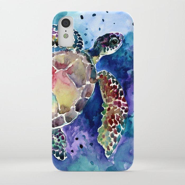 Sea Turtle underwater, beach deep blue barine blue turtle beach style design iPhone Case