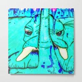 Turquoise Elephant Metal Print