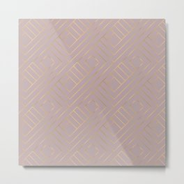 Dusty Rose Powder Pastel Gold Geometric Pattern Metal Print