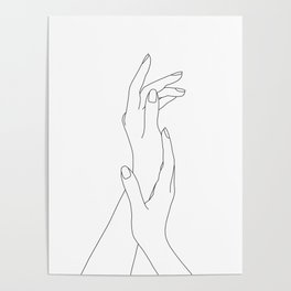 Hands line drawing illustration - Dia Poster